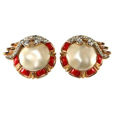 Trifari Ming Red Enamel Rhinestone Earrings Vintage 1960s to Match Brooch