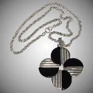 Trifari Mod Black Resin and Silver Color Pendant Necklace