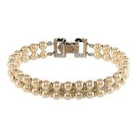 Trifari Bracelet Faux Pearls Rhinestones Vintage 1950s