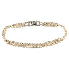 Trifari Necklace Faux Pearls Rhinestones Sterling Silver Vintage Choker
