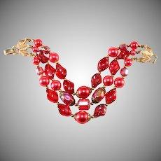 Trifari Bracelet Red Pink Beads Vintage 1960s