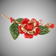 Trifari 1940s Red Enameled Rose Pin Fur Clip Brooch Vintage