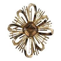 Trifari Brooch Pin 1960s Starburst Ribbon Bow Mink Rhinestone Gold Plated Vintage