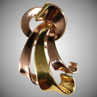 Trifari Yellow and Rose Gold Plate Swirling Ribbon Fur Clip Pin Brooch