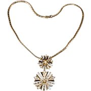 Trifari 1940s Snowflake Necklace Brooch Pin Clear Rhinestones