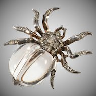 Trifari Spider Jelly Belly Pin Clip Brooch Sterling Silver Vintage 1940s