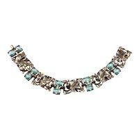 Trifari Bracelet Sterling Silver Leaves Blue Clear Rhinestones Vintage 1940s