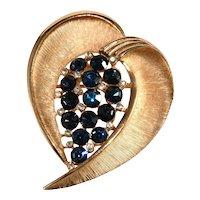 Trifari Brooch Stylized Heart Blue Rhinestones Vintage 1960s