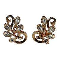 Trifari Earrings Clear Rhinestones Vintage 1950s