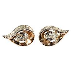 Trifari Teardrop Clear Pear Rhinestones Earrings Vintage