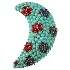 Trifari Turquoise Blue and Ruby Red Crescent Moon Brooch Pin