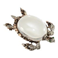 Trifari Brooch Jelly Belly Sea Turtle Vintage Lucite Sterling Silver 1940s Pin