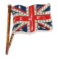 Trifari Brooch British Flag Union Jack Enameled Rhinestones Vintage Pin