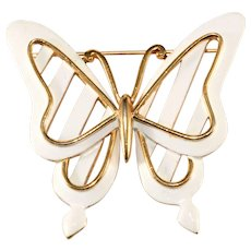 Trifari 1960s Butterfly White and Gold Brooch Pin Vintage