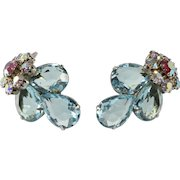 Turquoise Blue and Iridescent Rhinestone Earrings 1950s
