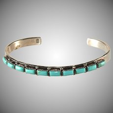 Native American Style Turquoise Sterling Silver Cuff Bracelet