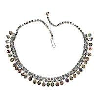 Necklace Blue Rhinestones Aurora Borealis Iridescent Dangle Crystal Beads Vintage