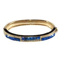 Bracelet Hinged Bangle Blue Clear Rhinestones Vintage