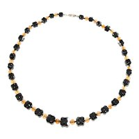 Beaded Necklace Square Textured Black Beads Faceted Brown Vintage Strand