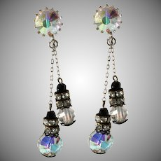Crystal and Black Rhinestone Dangle Earrings Vintage