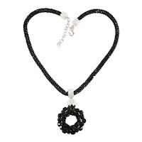 Necklace Black Beads Pave' Clear Rhinestones Dangle Pendant Possible Dior