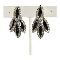 Dangle Earrings Black and Clear Rhinestones Vintage