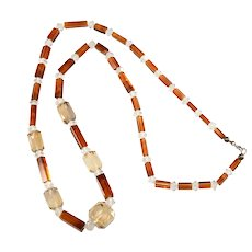 Necklace Glass Beads Brown Amber Clear Faceted Vintage Beaded Strand