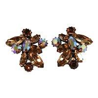Earrings Shades of Brown Rhinestones Iridescent Vintage Likely Regency