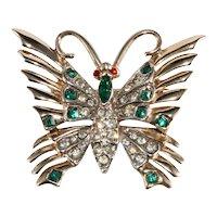 Brooch Butterfly Green Clear Rhinestones Vintage