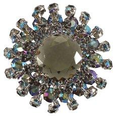 Domed Cage Brooch Iridescent Aurora Borealis Rhinestones Urchin Vintage Pin