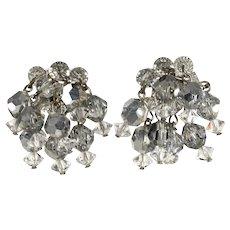 Crystal Dangle Earrings Clear Silver Beads Vintage Waterfall Clusters
