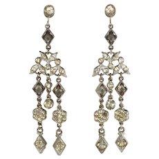 Earrings 1930s Dangle Rhinestones Screw Backs Vintage