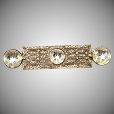 Art Deco Large Rhinestone Bar Pin Brooch Vintage 1930s