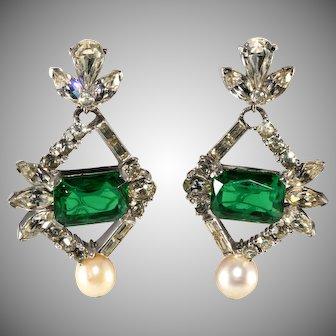 Faux Emerald Rhinestone and Pearl Dangle Earrings Vintage