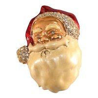 Santa Claus Pin Face Head Enameled Christmas Pin Rhinestones