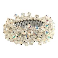 Crystal Bead Cha Cha Expansion Bracelet Iridescent Clear Vintage