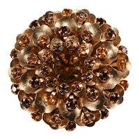 Flower Brooch Cluster Gold Plate Rhinestones Brown Amber Pin Vintage 1960s