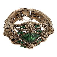 1950s Chunky Green and Gold Rhinestone Bracelet Vintage After Selro