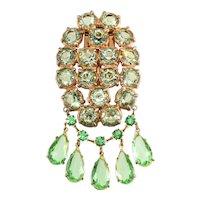 1930s Dress Clip Brooch Green Rhinestones Dangles Vintage