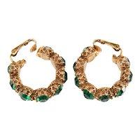 Earrings Hoop Style Green Rhinestones Filigree Gold Plated Metal Vintage