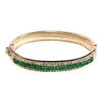 Bracelet Hinged Bangle Green Clear Rhinestones Vintage