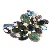 Unmarked Brooch Pin Green Cabochons Blue Rhinestones Vintage