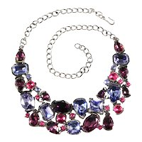 K.J.L. Necklace Unmarked Bib Style Purple Pink Rhinestones Kenneth Jay Lane KJL