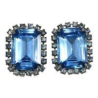 Earrings Large 1950s Blue Emerald Cut Stones Vintage Clips
