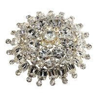 Large Brooch 3 Inch Clear Rhinestone Pin Vintage Unmarked