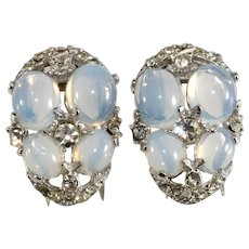 Pair of Fur Clips Faux Moonstone Pin Clip Brooches Vintage