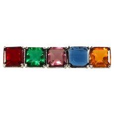 Multicolor Bar Pin Square Rhinestones Brooch Jewel Tone Vintage 1980s