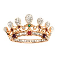 Royal Crown Brooch Jewel Tone and Clear Rhinestones Pin Unmarked Regal
