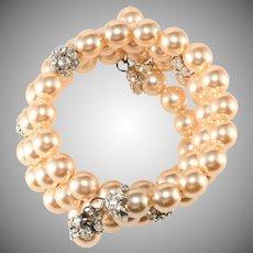 Faux Pearl and Rhinestone Ball Wrap Bracelet