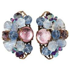 Pink and Blue Flower Cluster Art Glass Rhinestone Earrings Vintage